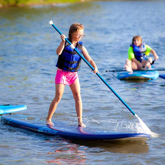 family friendly resort with paddle boards and kayaks.
