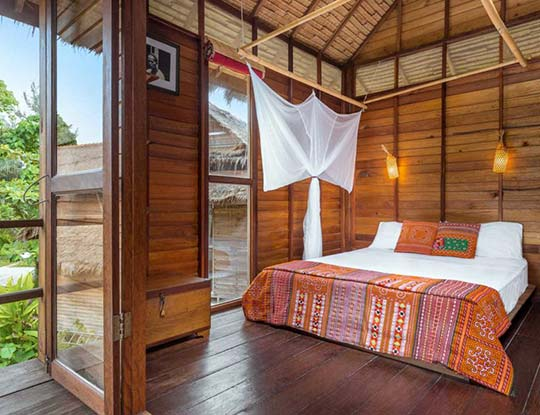 Breezy bungalow bedroom, Castaway Resort Koh Lipe Thailand