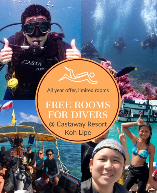 Castaway Resort promotion and packages offering free rooms for divers